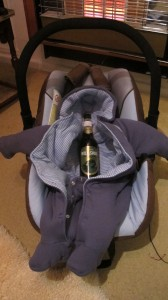 beer in a baby chair