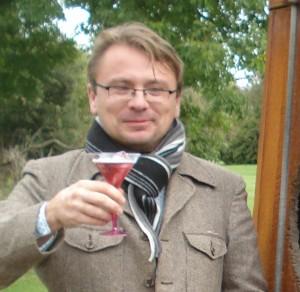 Andy Hamilton drinking