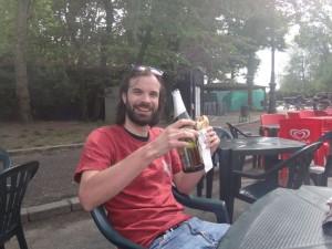 Owen Mead with a big beer